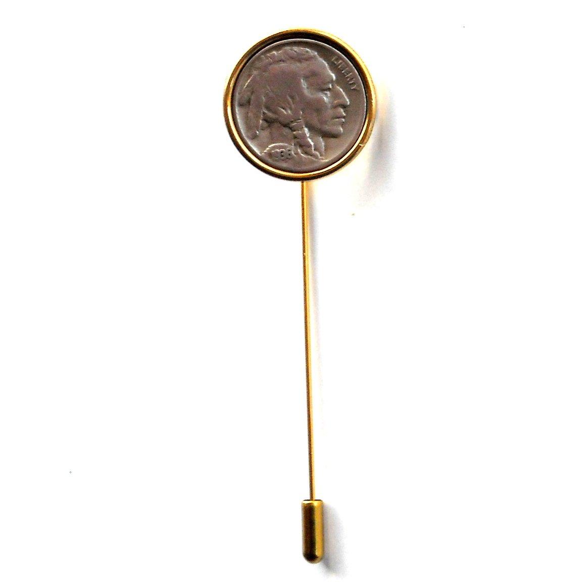 Indian Head Coin Nickel Gold Color Vintage Necktie Stick Clutch Pin