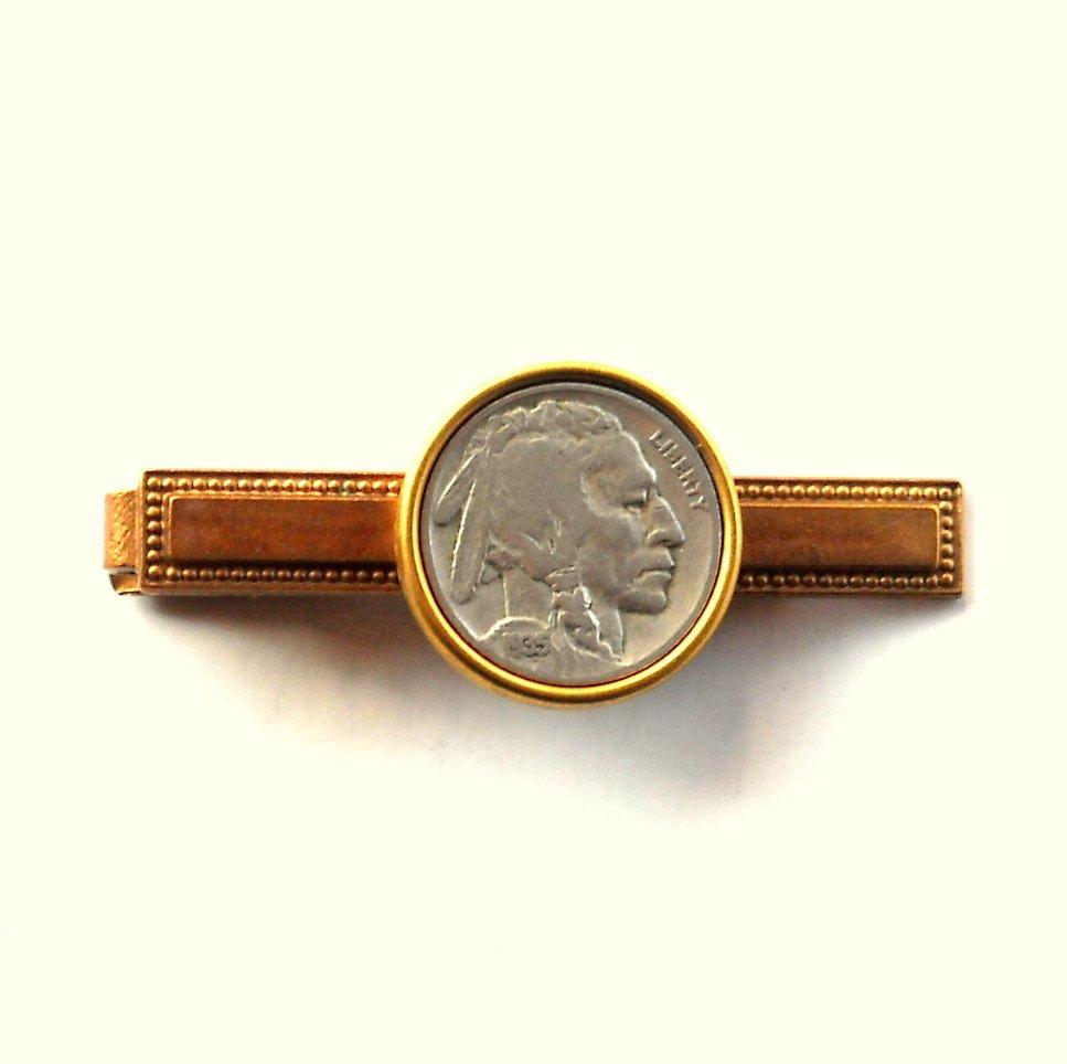 Genuine Indian Head Buffalo Nickel Coin Vintage Copper Tie Slide Clip
