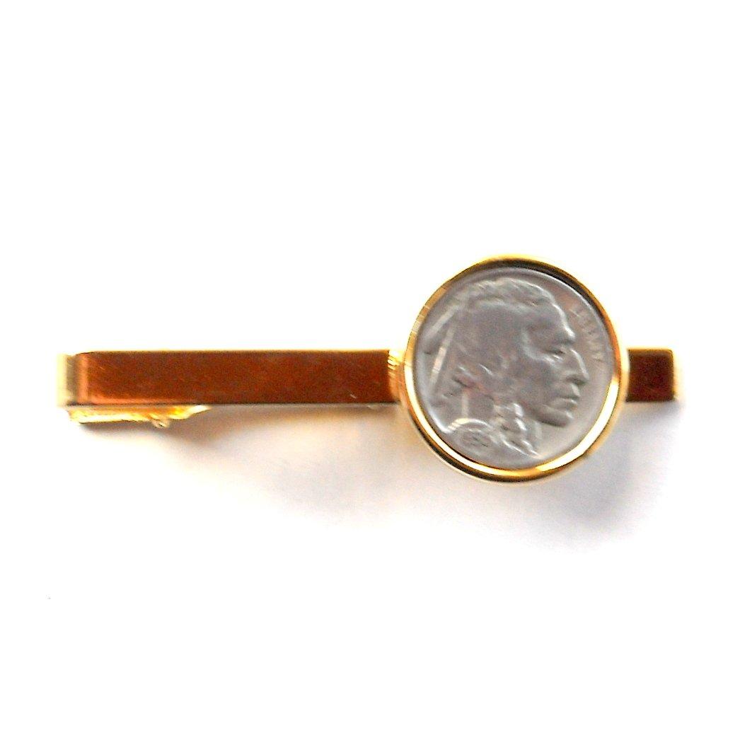 Genuine Buffalo Indian Head Nickel Coin Vintage Gold color Tie Slide Clip