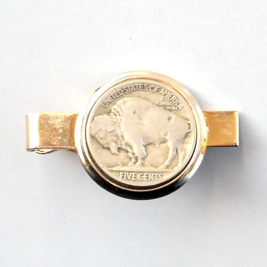Real Buffalo Nickel Coin Vintage Gold color Short Tie Slide Clip