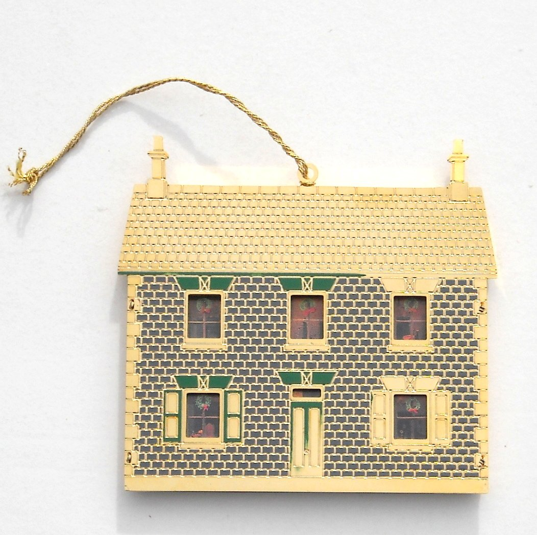 English Victorian Doll House Bing Grondahl 24k Gold Finish Christmas Ornament