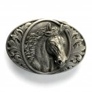Horse Head 3D Bergamot Pewter belt buckle