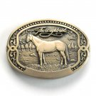 Thoroughbred Tony Lama Vintage Horse Breeder Solid Brass Belt Buckle