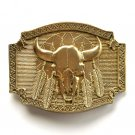 Buffalo Skull Native Feathers Vintage Montana Silversmiths Brass Belt Buckle