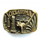 Oklahoma Cows Oil 3D Vintage Heritage Mint LB 1571 Solid Brass Belt Buckle
