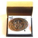 Tony Lama Vintage State Of Arkansas solid brass belt buckle