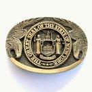New York Vintage Great Seal Award Design Solid brass belt buckle