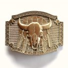 Cow Skull Native Feathers Vintage Award Design brass belt buckle