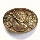 Bull Elk Vintage Award Design brass Oval belt buckle