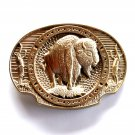 American Bison Buffalo Vintage Award Design brass belt buckle