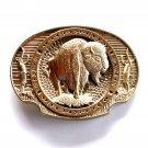 American Bison Buffalo Vintage Award Design brass belt buckle