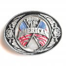 Proud To Be An American Siskiyou Pewter Belt Buckle