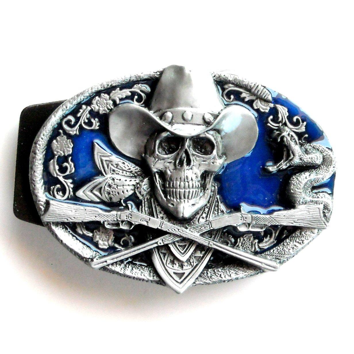 Cowboy Skull Guns 3D Siskiyou Pewter Belt Buckle