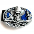 Cowboy Skull Guns 3D Siskiyou pewter belt buckle