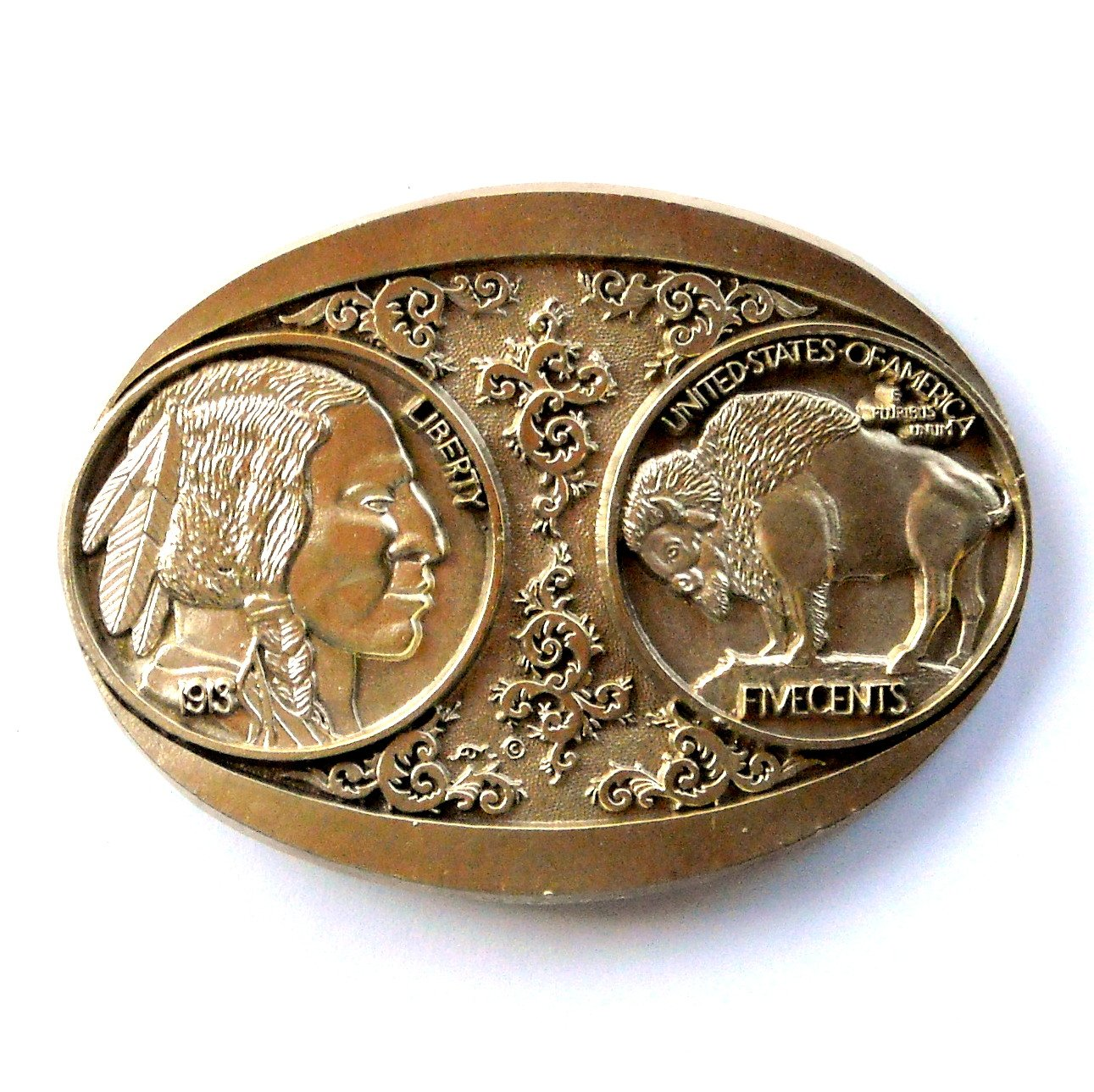 Buffalo Nickel Five Cents Award Design Solid Brass Belt Buckle