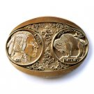 Buffalo Nickel Five Cents Award Design Solid Brass belt buckle