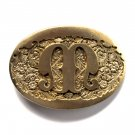 Letter M Initial Monogram Western Style Award Design Solid Brass Standard belt buckle