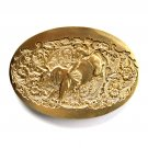 Western Rodeo Bull Riding Vintage Award Design Solid Brass Belt Buckle