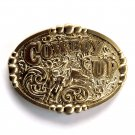 Cowboy Up Bull Rider Award Design Solid brass belt buckle
