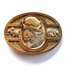 Bison Buffalo Vintage Award Design Solid Brass belt buckle