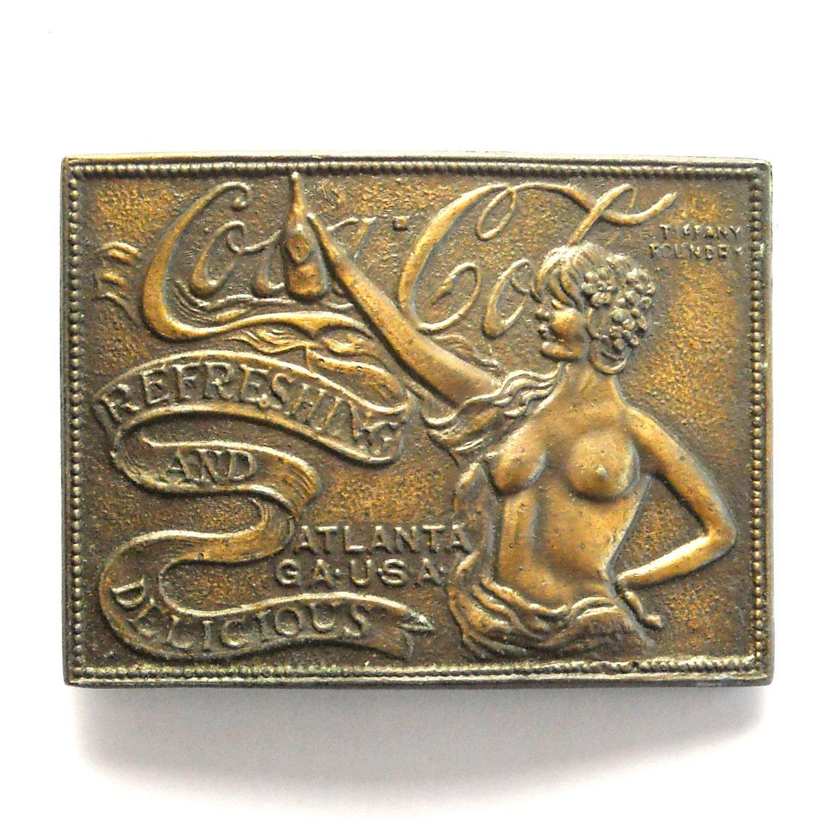 Vintage Coca Cola Tiffany Foundry metal belt buckle