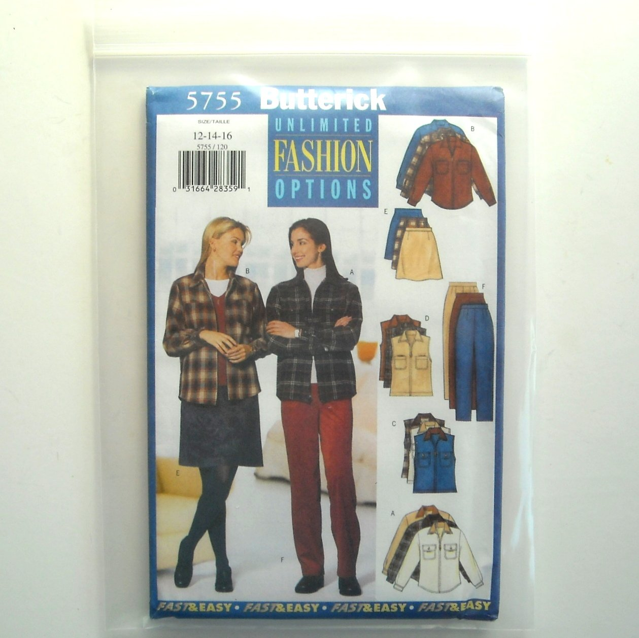 Misses Petite Shirt Vest Skirt Pants Fashion 12 14 16 Vintage Butterick Sewing Pattern 5755