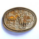 Gold Prospector Camp Site Award Design Solid Brass Oval Belt Buckle