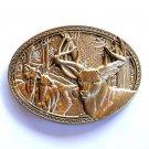Elk Herd Award Design Solid Brass Oval Belt Buckle