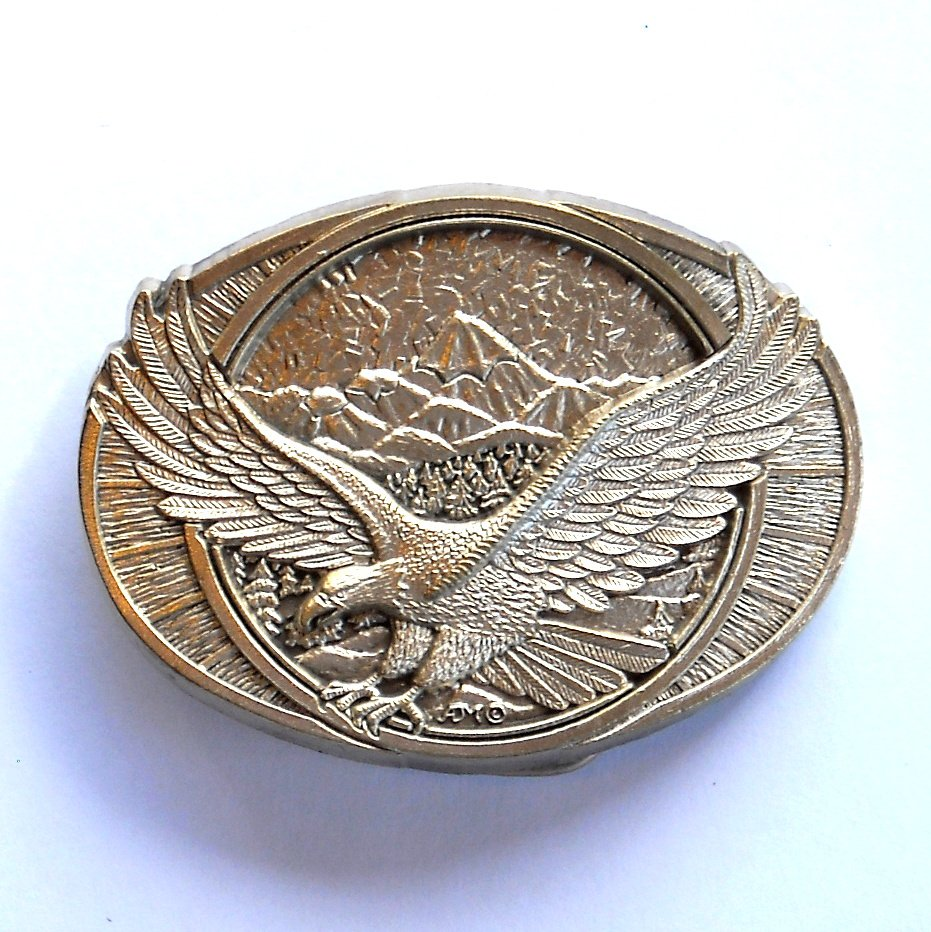Flying Bald American Eagle Montana Silversmiths Solid Brass Vintage Standard Small Belt Buckle