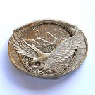 Flying Bald American Eagle Montana Silversmiths Solid Brass small belt buckle