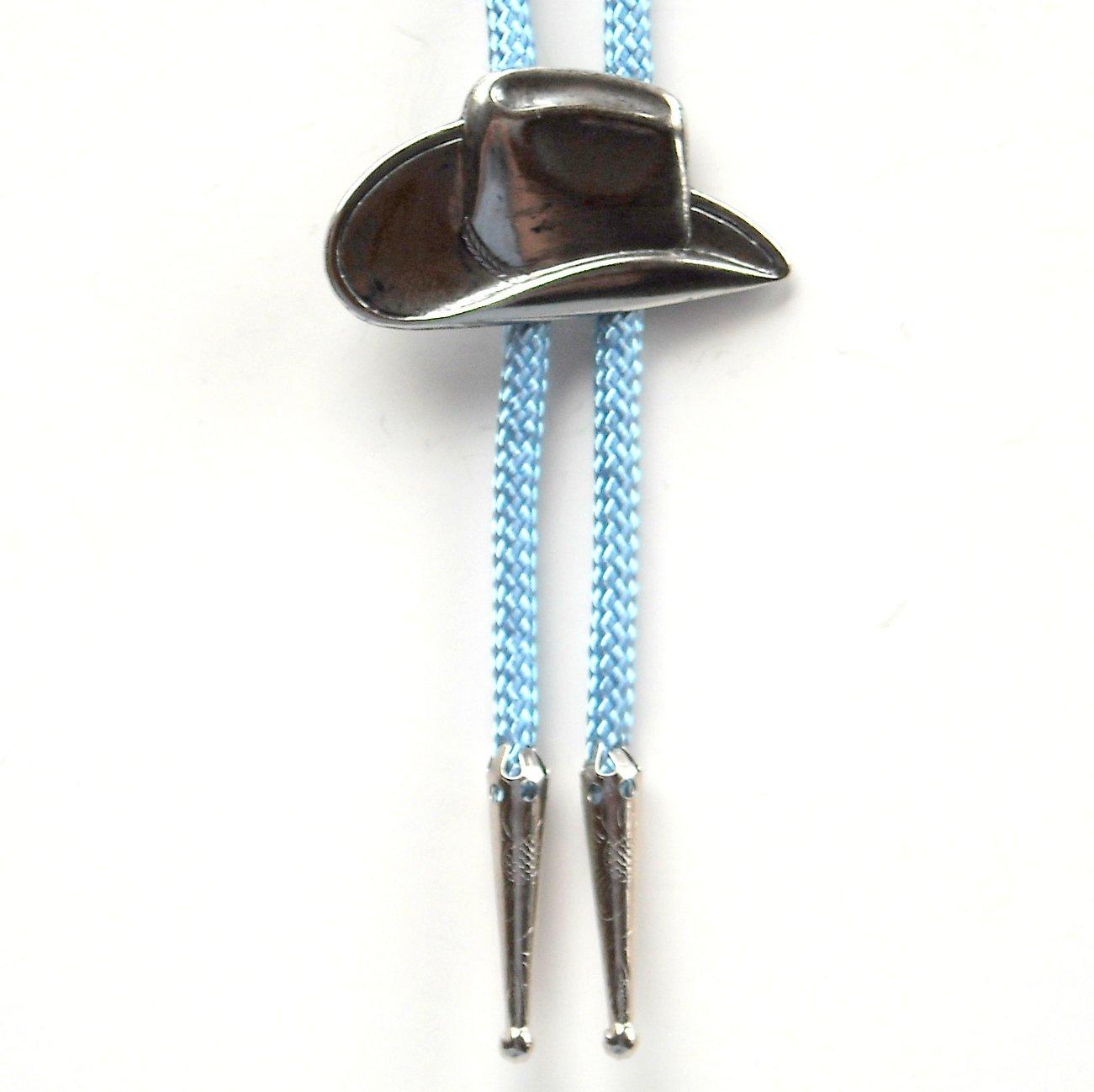 Large Cowboy Hat Vintage Blue Bolo Bootlace Tie