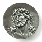 Jesus Christ 3D Bergamot Solid Pewter Round Belt Buckle