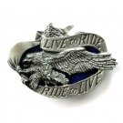 Eagle 3D Live To Ride Color Bergamot Solid Pewter Belt Buckle
