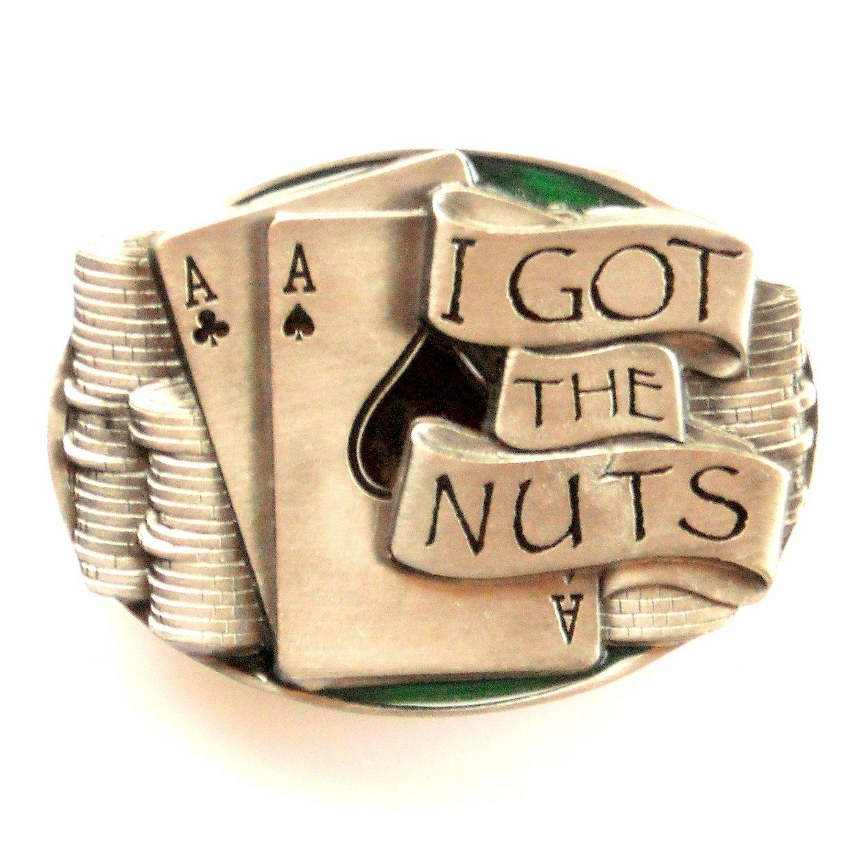 I Got The Nuts Color Bergamot Solid Pewter Belt Buckle