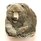 Big Grizzly Bear Salmon 3D Bergamot Solid Pewter Belt Buckle