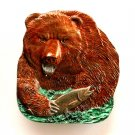 Big Grizzly Bear Salmon 3D Color Bergamot Solid Alloy Belt Buckle