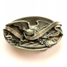 Proud To Be An American 3D Eagle Bergamot Solid Pewter Belt Buckle
