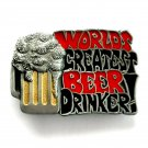 Worlds Greatest Beer Drinker 3D Color C & J American Made belt buckle