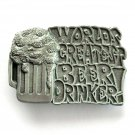 Worlds Greatest Beer Drinker 3D C & J American Made belt buckle