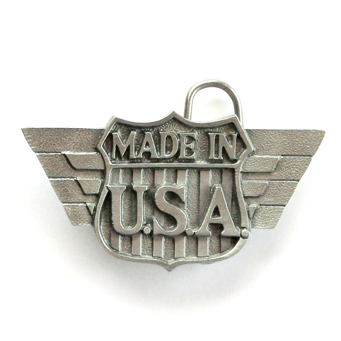 Made In USA Logo Symbol 3D C J Solid American Belt Buckle