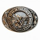 Tony Lama Great Seal Of The State Of Montana brass belt buckle
