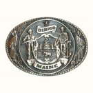 Great Seal Of The State Of Maine Tony Lama First Edition brass belt buckle