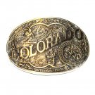 Great State Of Colorado Award Design Brass Oval belt buckle