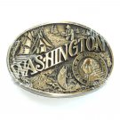 Great State Of Washington Award Design Brass Oval belt buckle