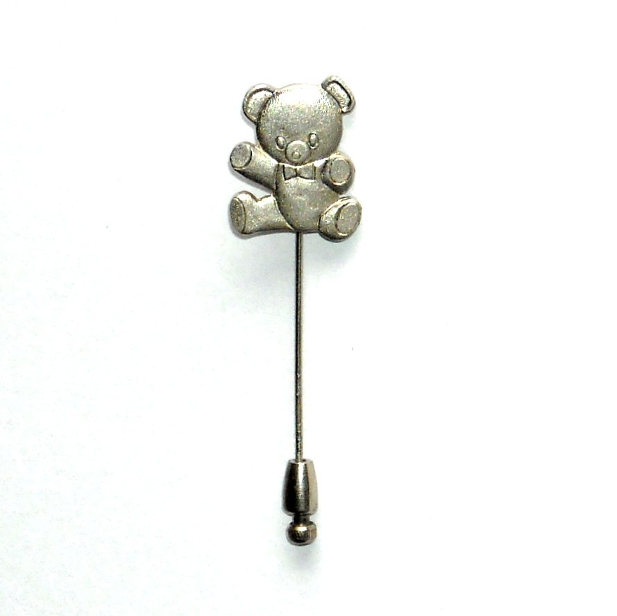 My Teddy Bear Silver Color Vintage Necktie Stick Clutch Pin