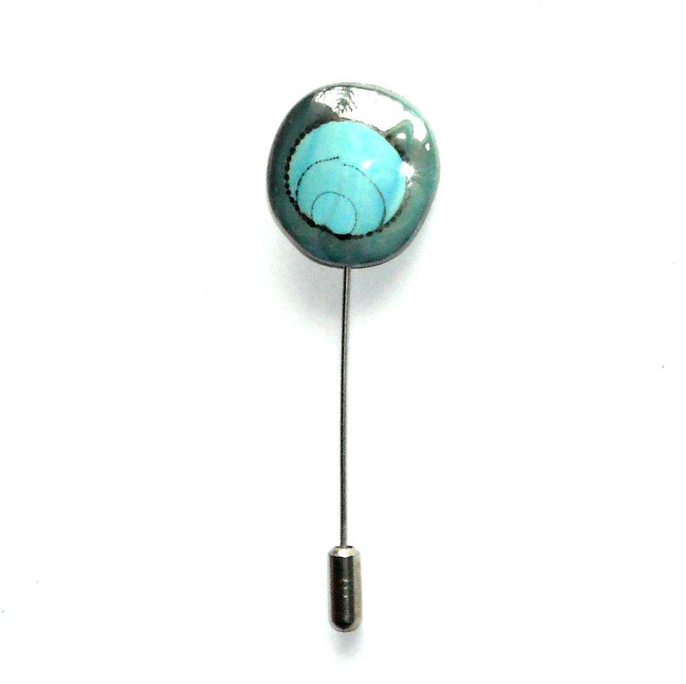 Free Spirit Art Blue Silver Color Vintage Necktie Stick Clutch Pin