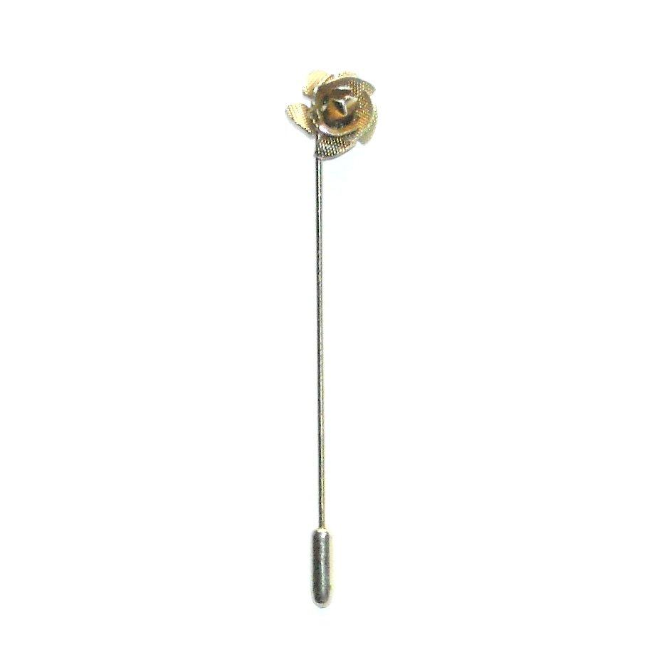Rosebud Flower Silver Color Vintage Necktie Stick Clutch Pin