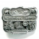Mississippi Farmer 3D Mens pewter alloy belt buckle