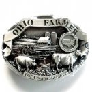 Ohio Farmer 1987 Commemorative 3D pewter alloy belt buckle