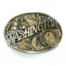 Great State Of Washington Award Design Brass Oval American Made Belt Buckle